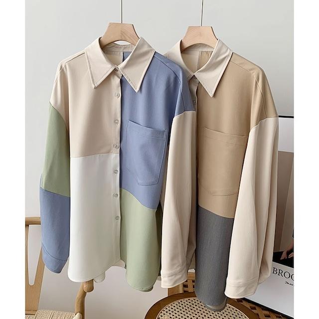 パッチワーク風Yシャツ 2色 【210258】