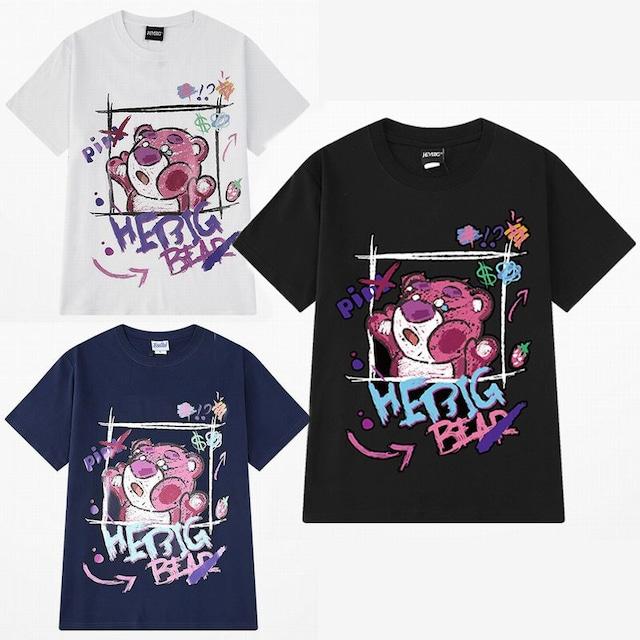 ユニセックス 半袖 Tシャツ メンズ レディース かわいい 落書き風 クマちゃん プリント オーバーサイズ 大きいサイズ ルーズ ストリート TBN-615687030258