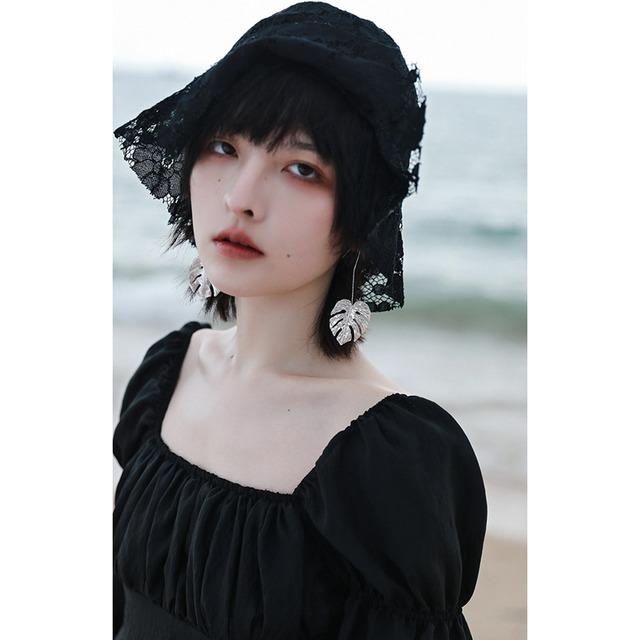 【大青龍肆シリーズ】★帽子★ レース 透かし彫り 小物 オリジナル ブラック 黒い 合わせやすい