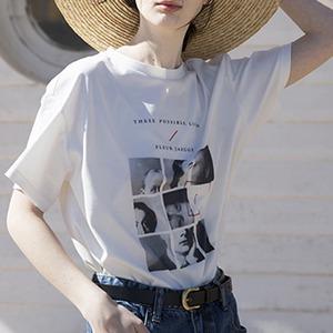 オーバーサイズプリントTシャツ(ホワイト)│Tシャツ モノクロ レディース カジュアル シンプル