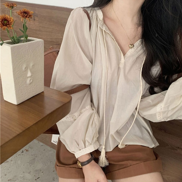 パフスリーブシャツ | 羽織もの ブラウス 大人女子 韓国服 フリル 日焼け防止