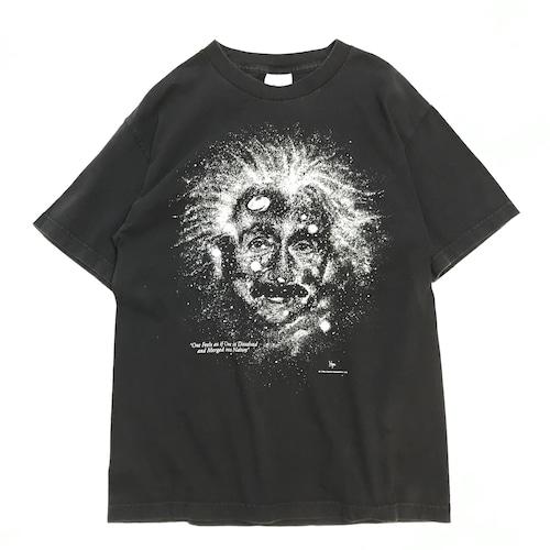 【USED】90s アインシュタイン 蓄光 プリント 半袖 Tシャツブラック M