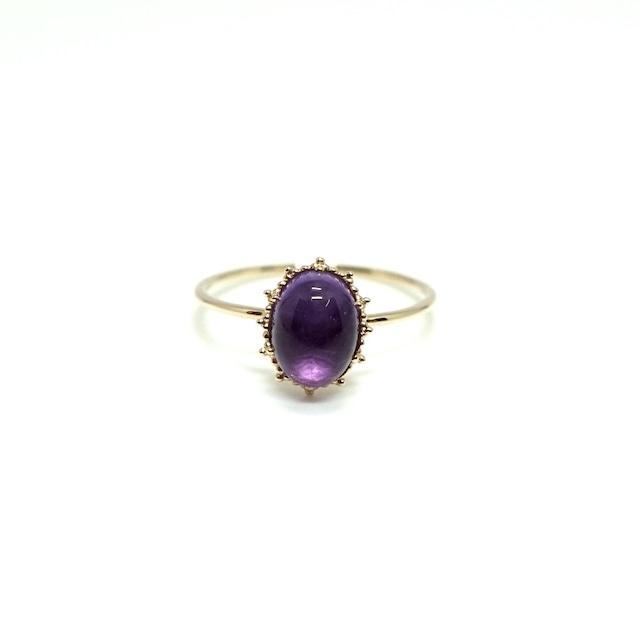 granulation 8×6 gem ring - Ametyst