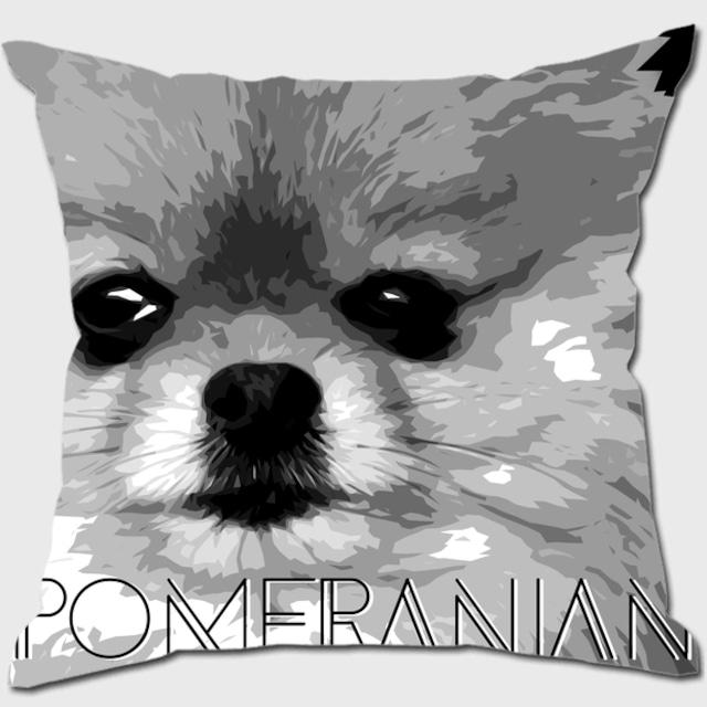 ポメラニアン 【IMPACT -shirokuro- 犬 クッション】