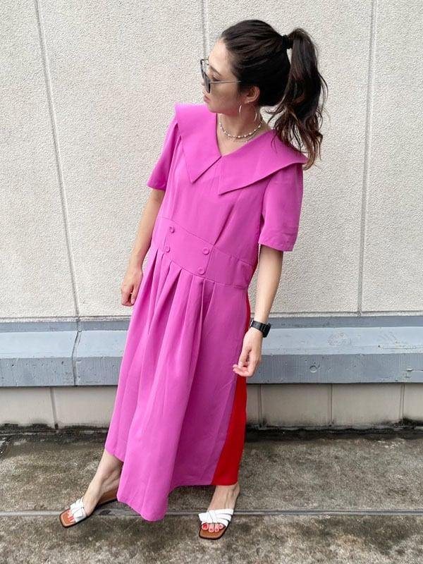 セーラーカラーワンピース[Color:ピンク×レッド]
