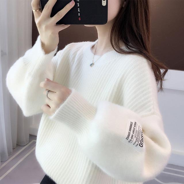 ラベルつきランタンスリーブセーター 4色 【210485】 大きいサイズあり