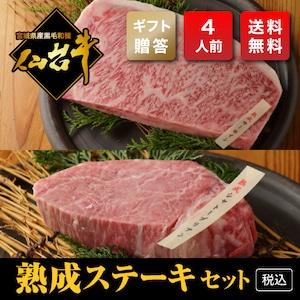 【ギフト用・ドライエージング熟成A5】ステーキセット(400g・4人前)【税込・送料無料】
