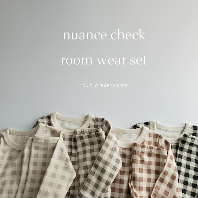 【即納】nuance check room wear set〔ニュアンスチェックルームウェアセット〕peekaboo