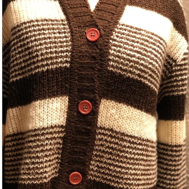 80s border knit cardigan