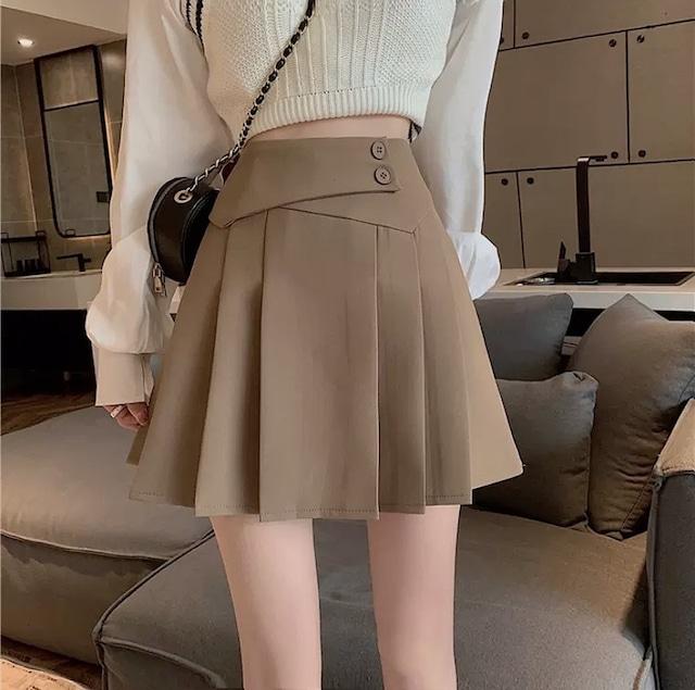 button belt skirt 2color