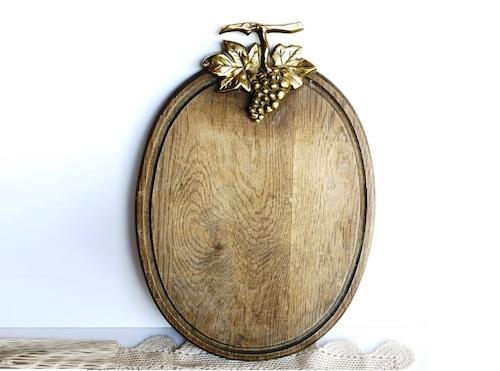 ドイツヴィンテージ カッティングボード 真鍮葡萄飾り