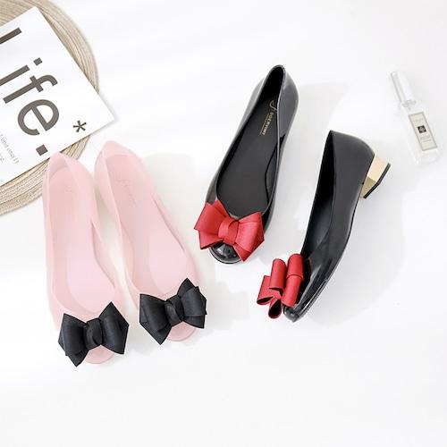 【Soervimy】 ラバーパンプス レインシューズ ヒール3.5cm 半透明 韓国ファッション レディース パンプス ぺたんこ 雨 梅雨 ラバー 防水 596251179530