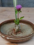 卓上花器 平鉢形 窯変白マット【青陶舎】