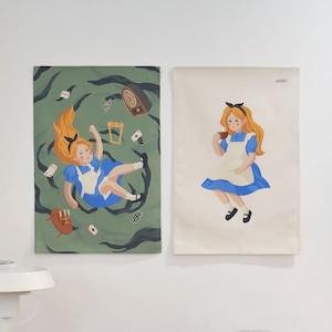 Alice fabric poster 5types /不思議の国のアリス ファブリック ポスター タペストリー 韓国 北欧 雑貨