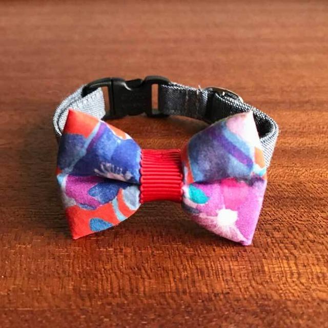 Cat ribbon collar 猫の首輪 リボン首輪 北欧デザインフラワー レッドリボン&ブルーベルト 【送料無料】