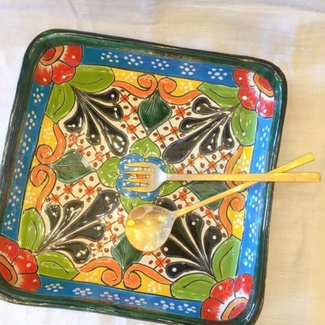 メキシコ グアナファト焼の四角深皿 オリーブI