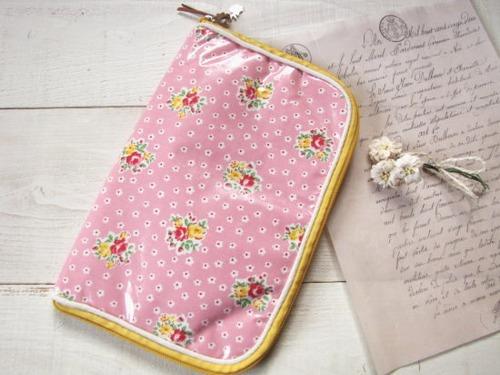 母子手帳ケース*コーティング ピンクフラワー/セレクト雑貨