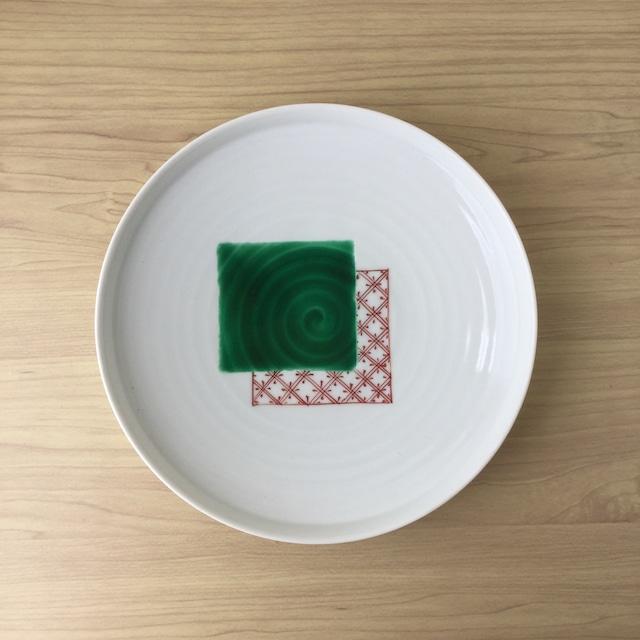 【有田焼】色絵色紙重ね紋 渕立皿【在庫限り】