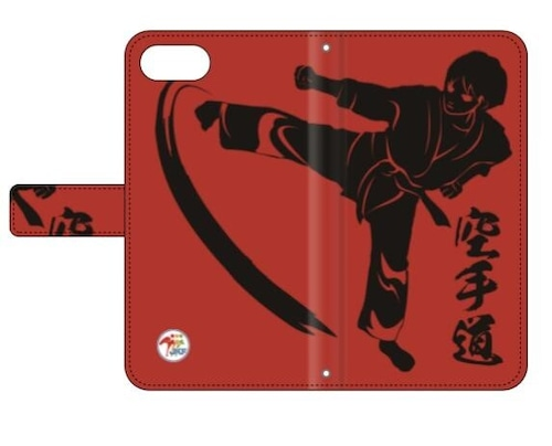 SoftBank 用:全日本空手道連盟認定 手帳型スマホケース R_空手道レッド