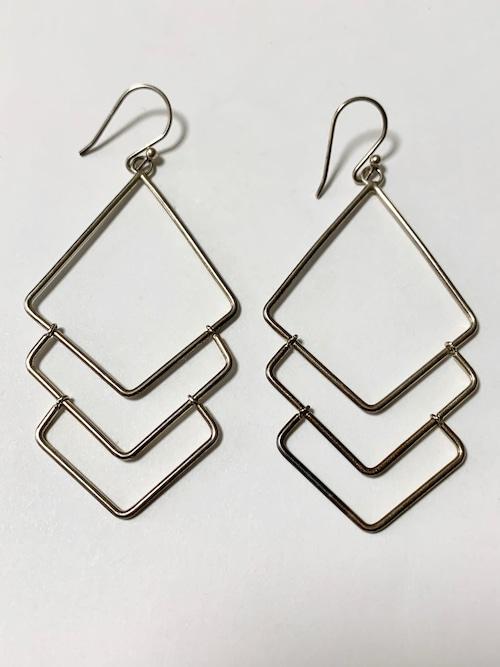 Vintage Modernist 925 Silver Dangle Pirced Earrings