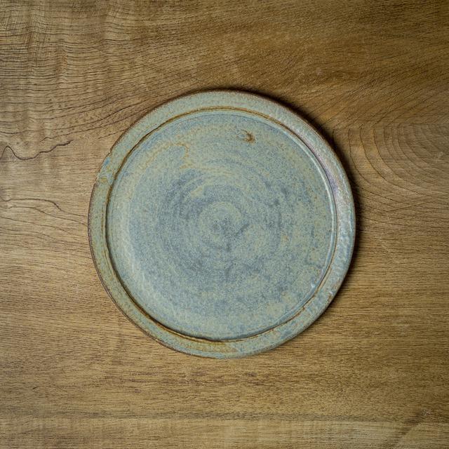 錆浅葱 6寸リムプレート(フラットプレート・中皿・平皿)/吉永哲子