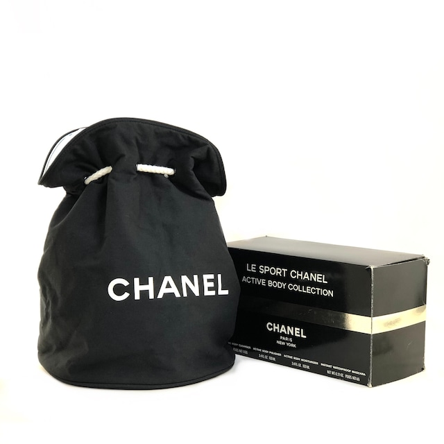 CHANEL シャネル ロゴ 巾着 プールバッグ ショルダーバッグ ブラック vintage ヴィンテージ オールド