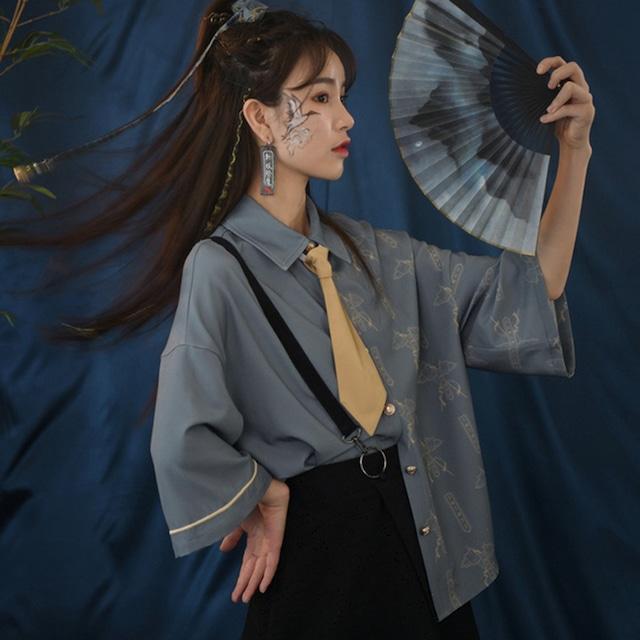 【森女部落シリーズ】★チャイナ風シャツ★ チャイナ服 中華服 S M L 青い ブルー 可愛い 合わせやすい
