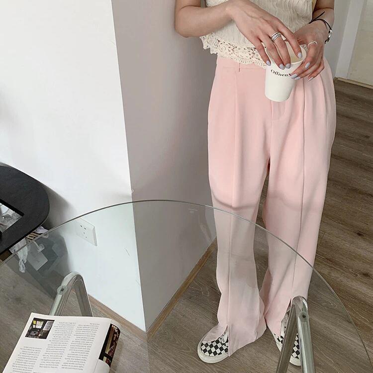 【パンツ】センタースリットスラックス(Pink)