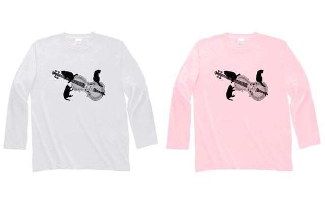 バイオリンと黒猫の長袖Tシャツ