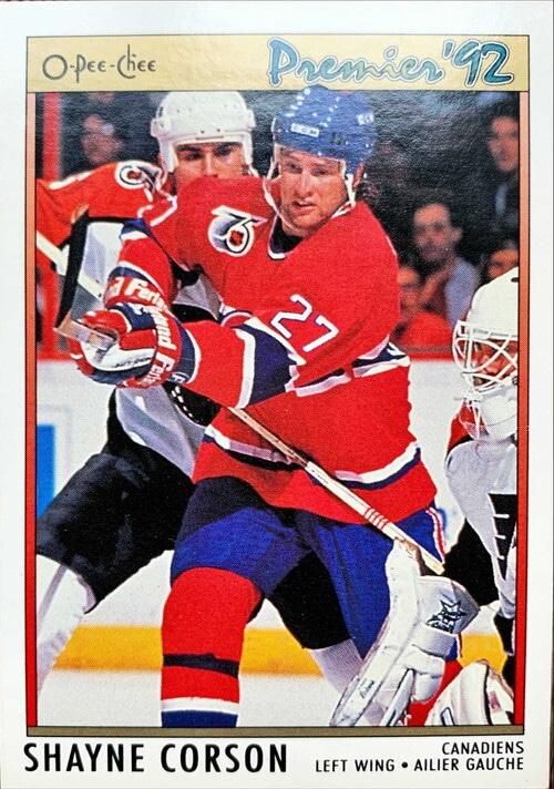 NHLカード 91-92 O-PEE-CHEE SHAYNE CORSON #161 CANADIENS