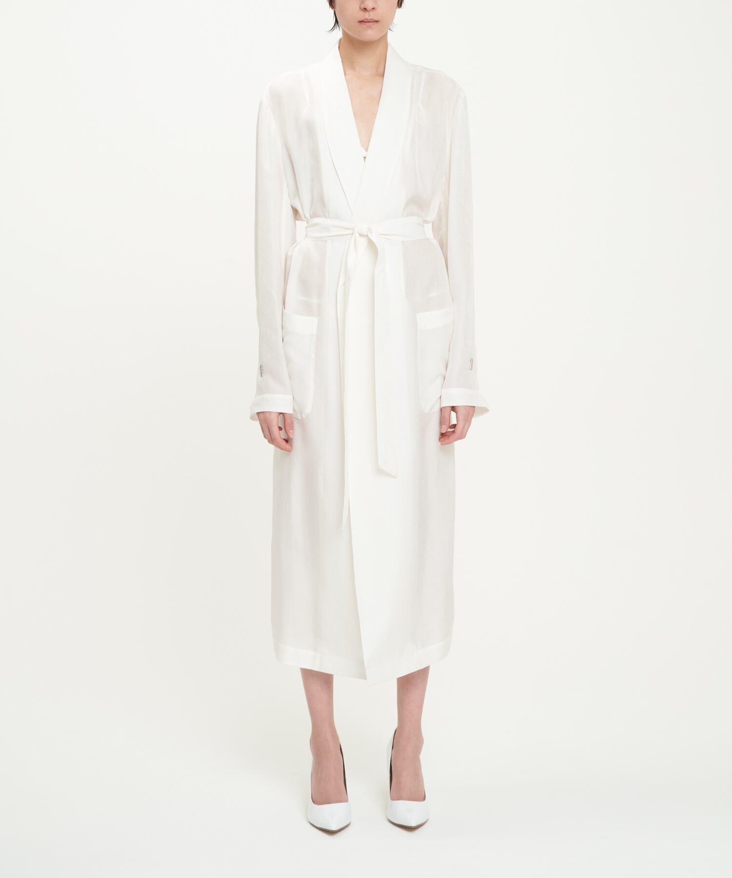 White Cupro Paisley Robe