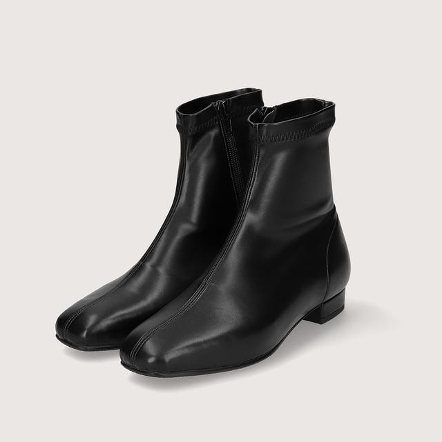 【一部難あり】スクエアトゥ ストレッチフラットブーツ:ブラック Mサイズ(OT1419)
