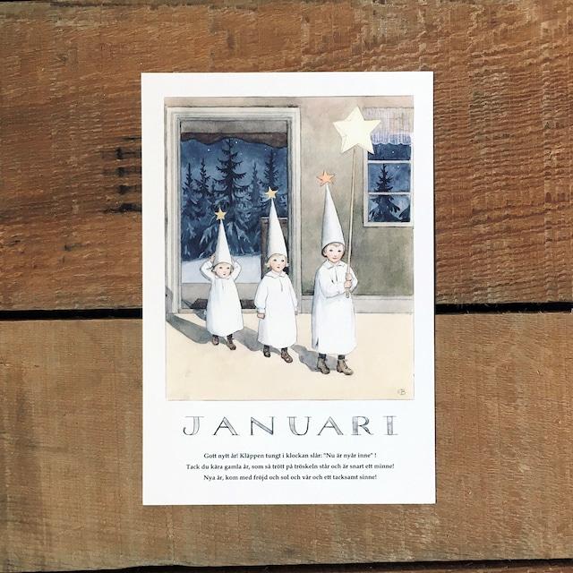 ポストカード「1月@JANUARI(いちねんのうた - 01)」