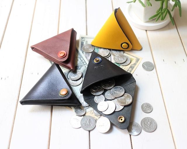 レザー三角コインケース 4カラー受注製作(納期約1週間)レザー職人が作る本格レザー小物 プレゼントレザーコインケース 本革コインケース