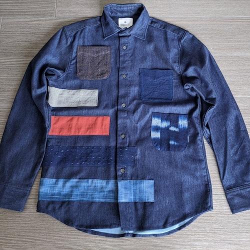 9着限定<OSOCU×HandWorks>備後節織 パッチワークデザイン レギュラーカラーシャツ 「接」 日本製
