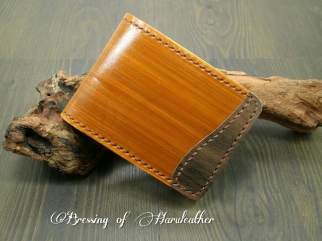 天然木と手染め コインキャッチャーの革財布