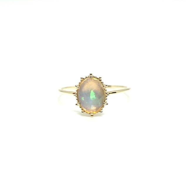 granulation 8×6 gem ring - Opal facet cut