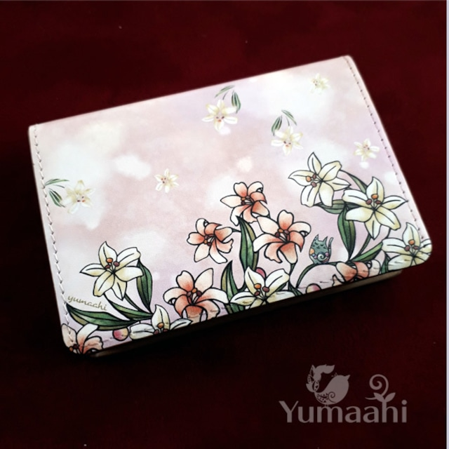 カード ケース 名刺入れ : ユリと猫 ねこ ネコ 百合 かわいい ピンク