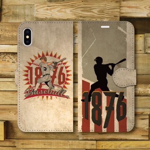 レトロポスター/ベースボール/野球/レトロ調/ビンテージ調/アメリカ/バッター/GRAY・RED/iPhoneスマホケース(手帳型ケース)