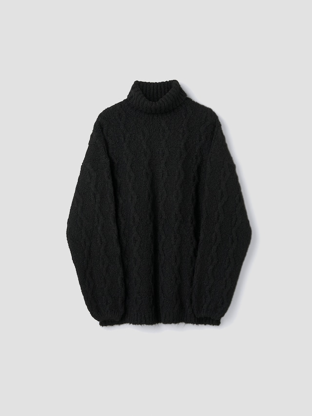 OUR LEGACY LARGE TURTLENECK FUZZY SOOT BLACK M4213LFS