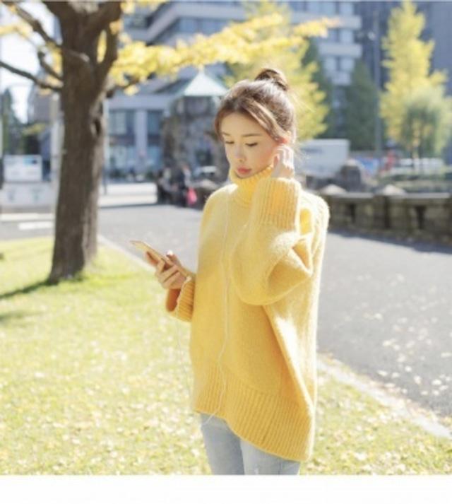 【ニット・セーター】無地 ニット トップス 大きめサイズ ゆるカジ ハイネック 長袖 セーター