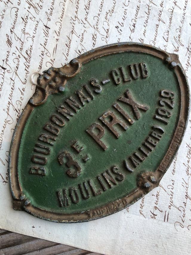 1929 BOURBONNAIIS-CLUB アイアンプレート グリーン