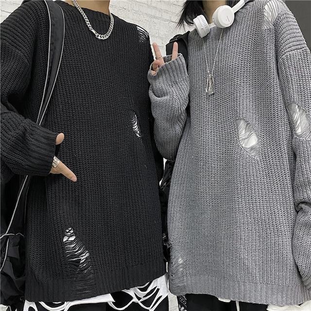 ユニセックス ダメージ加工 ニット セーター ラウンドネック ドロップショルダー ルーズ 韓国ファッション メンズ レディース オーバーサイズ モード ストリート系 TBN-630322693505