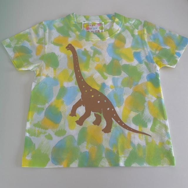 受注制作kidsTシャツ「ブラキオサウルス草原をゆく」100cm~140対応