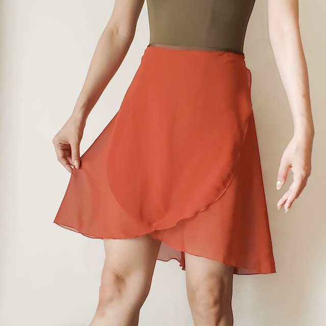 LONG wrap skirt【レッドブリック×ブラウン】
