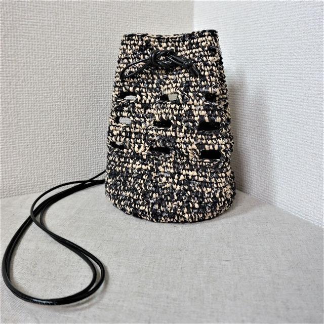 2WAY巾着ポシェット(コニファーテープ×点絣)