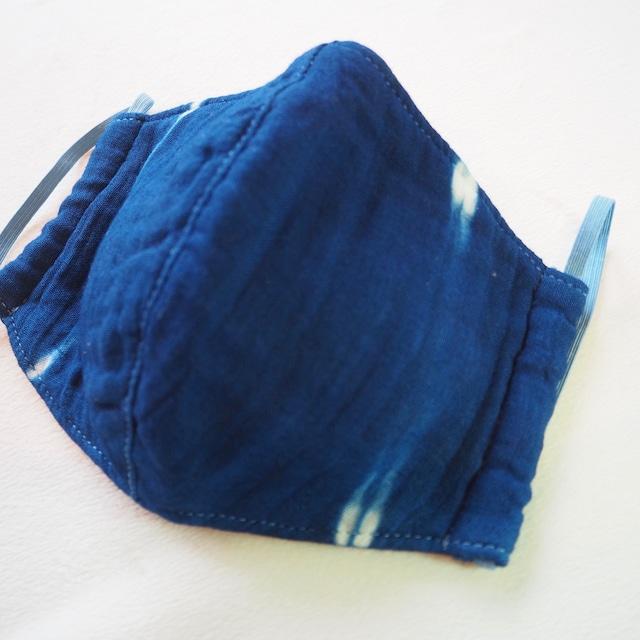 藍染めガーゼ 6 層仕立て 快適サラサラマスク(板締め絞り)