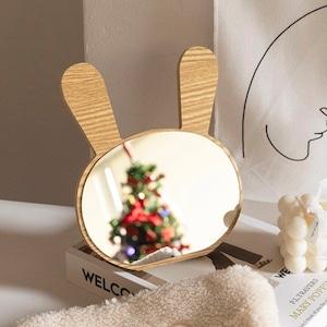 rabbit wood mirror / ラビット ウッド ミラー うさぎ型 木製 卓上 鏡 韓国 北欧 雑貨