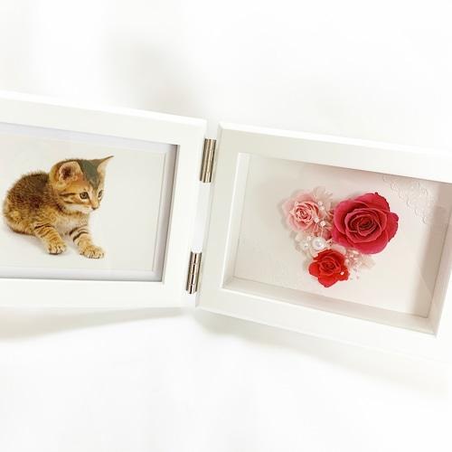 プリザーブドフラワー  フォトフレーム 【型取りハート】ハート ハート型 写真立て ピンク パール 可愛い 上品 結婚祝い 出産祝い プロポーズ 記念日