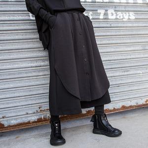 ガウチョパンツ ロングパンツ ストリート系 レディース メンズ ゴシック カジュアルパンツ 個性 ゆったり ポッチャリ 大きいサイズ ダンスパンツ 舞台衣装 九分丈 黒パンツ2732
